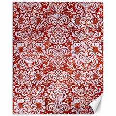 Damask2 White Marble & Red Marble Canvas 11  X 14   by trendistuff