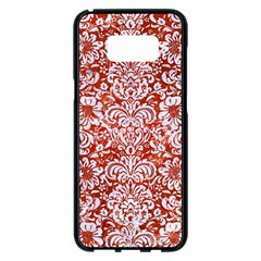 Damask2 White Marble & Red Marble Samsung Galaxy S8 Plus Black Seamless Case by trendistuff