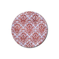 Damask1 White Marble & Red Marble (r) Rubber Coaster (round)  by trendistuff