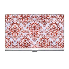 Damask1 White Marble & Red Marble (r) Business Card Holders by trendistuff