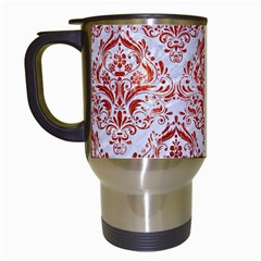 Damask1 White Marble & Red Marble (r) Travel Mugs (white) by trendistuff