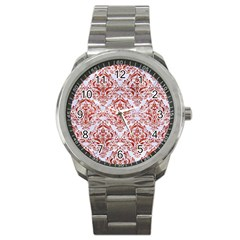 Damask1 White Marble & Red Marble (r) Sport Metal Watch by trendistuff