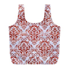 Damask1 White Marble & Red Marble (r) Full Print Recycle Bags (l)  by trendistuff