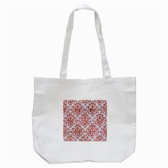 Damask1 White Marble & Red Marble (r) Tote Bag (white) by trendistuff