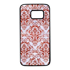 Damask1 White Marble & Red Marble (r) Samsung Galaxy S7 Black Seamless Case by trendistuff