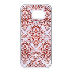 Damask1 White Marble & Red Marble (r) Samsung Galaxy S7 Edge White Seamless Case by trendistuff