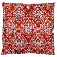 Damask1 White Marble & Red Marble Large Cushion Case (two Sides) by trendistuff