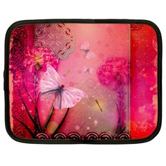 Wonderful Butterflies With Dragonfly Netbook Case (xxl)  by FantasyWorld7