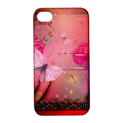 Wonderful Butterflies With Dragonfly Apple Iphone 4/4s Hardshell Case With Stand by FantasyWorld7