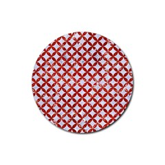 Circles3 White Marble & Red Marble (r) Rubber Coaster (round)  by trendistuff