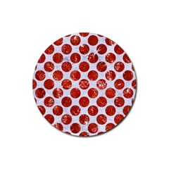 Circles2 White Marble & Red Marble (r) Rubber Round Coaster (4 Pack)  by trendistuff