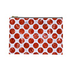 Circles2 White Marble & Red Marble (r) Cosmetic Bag (large)  by trendistuff