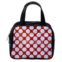 Circles2 White Marble & Red Marble Classic Handbags (one Side)