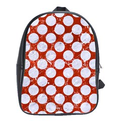 Circles2 White Marble & Red Marble School Bag (large) by trendistuff