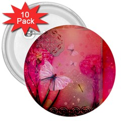 Wonderful Butterflies With Dragonfly 3  Buttons (10 Pack)  by FantasyWorld7