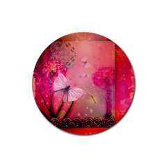 Wonderful Butterflies With Dragonfly Rubber Coaster (round)  by FantasyWorld7