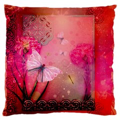 Wonderful Butterflies With Dragonfly Standard Flano Cushion Case (one Side) by FantasyWorld7
