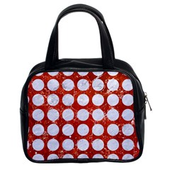 Circles1 White Marble & Red Marble Classic Handbags (2 Sides) by trendistuff