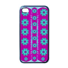 Fern Decorative In Some Mandala Fantasy Flower Style Apple Iphone 4 Case (black) by pepitasart