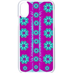 Fern Decorative In Some Mandala Fantasy Flower Style Apple Iphone X Seamless Case (white) by pepitasart