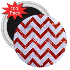 Chevron9 White Marble & Red Marble (r) 3  Magnets (100 Pack) by trendistuff