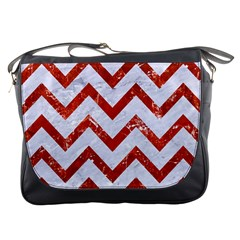 Chevron9 White Marble & Red Marble (r) Messenger Bags by trendistuff