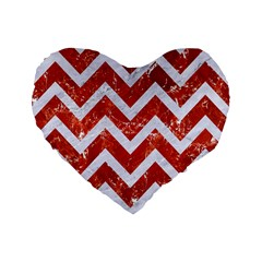 Chevron9 White Marble & Red Marble Standard 16  Premium Flano Heart Shape Cushions by trendistuff