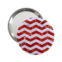 Chevron3 White Marble & Red Marble 2 25  Handbag Mirrors by trendistuff