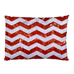 Chevron3 White Marble & Red Marble Pillow Case by trendistuff
