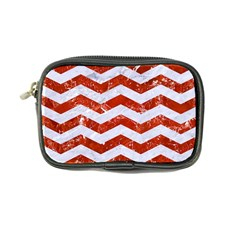 Chevron3 White Marble & Red Marble Coin Purse by trendistuff
