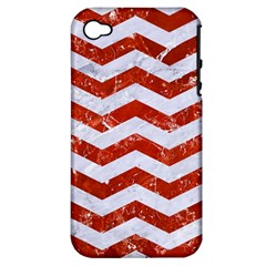 Chevron3 White Marble & Red Marble Apple Iphone 4/4s Hardshell Case (pc+silicone) by trendistuff