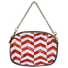 Chevron2 White Marble & Red Marble Chain Purses (one Side)  by trendistuff