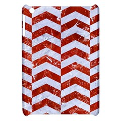 Chevron2 White Marble & Red Marble Apple Ipad Mini Hardshell Case by trendistuff
