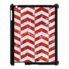 Chevron2 White Marble & Red Marble Apple Ipad 3/4 Case (black) by trendistuff