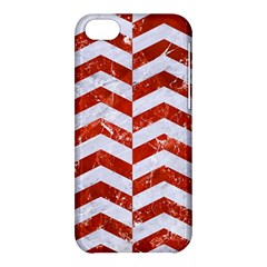 Chevron2 White Marble & Red Marble Apple Iphone 5c Hardshell Case by trendistuff