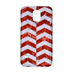 Chevron2 White Marble & Red Marble Samsung Galaxy S5 Hardshell Case  by trendistuff
