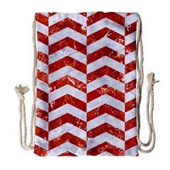 Chevron2 White Marble & Red Marble Drawstring Bag (large) by trendistuff
