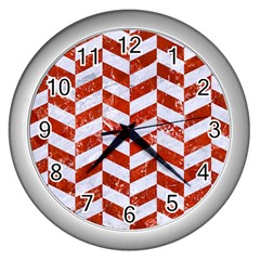 Chevron1 White Marble & Red Marble Wall Clocks (silver)  by trendistuff