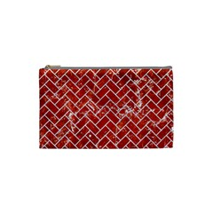 Brick2 White Marble & Red Marble Cosmetic Bag (small)  by trendistuff