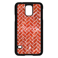 Brick2 White Marble & Red Marble Samsung Galaxy S5 Case (black) by trendistuff