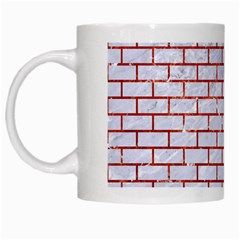 Brick1 White Marble & Red Marble (r) White Mugs by trendistuff