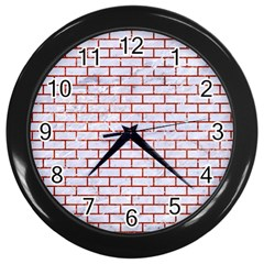Brick1 White Marble & Red Marble (r) Wall Clocks (black) by trendistuff