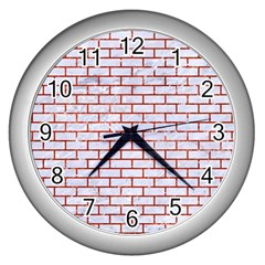 Brick1 White Marble & Red Marble (r) Wall Clocks (silver)  by trendistuff