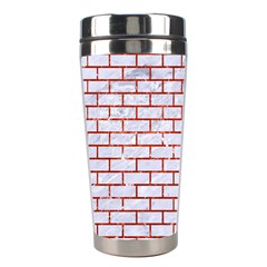 Brick1 White Marble & Red Marble (r) Stainless Steel Travel Tumblers by trendistuff