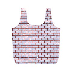 Brick1 White Marble & Red Marble (r) Full Print Recycle Bags (m)  by trendistuff