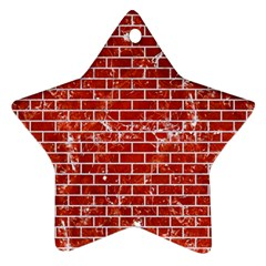 Brick1 White Marble & Red Marble Ornament (star) by trendistuff