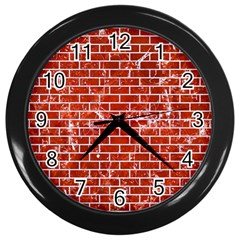 Brick1 White Marble & Red Marble Wall Clocks (black) by trendistuff