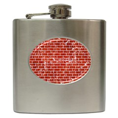 Brick1 White Marble & Red Marble Hip Flask (6 Oz) by trendistuff