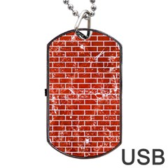 Brick1 White Marble & Red Marble Dog Tag Usb Flash (one Side) by trendistuff