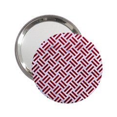 Woven2 White Marble & Red Leather (r) 2 25  Handbag Mirrors by trendistuff